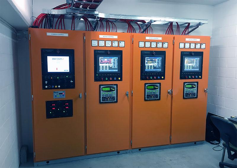 orange metal cabinets